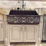 33″ Hammered Copper Kitchen Apron Single Basin Sink w/ Scroll Design and Apron Front Nickel Background