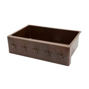 33″ Copper Hammered Kitchen Apron Single Basin Sink w/ Star Design