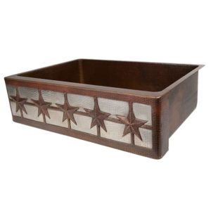 "33"" Hammered Copper Kitchen Apron Single Basin Sink w/ Star Design and Apron Front Nickel Background"