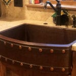 30″ Hammered Copper Kitchen Rounded Apron Single Basin Sink with Barrel Strap