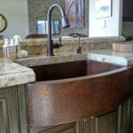 33″ Copper Hammered Kitchen Rounded Apron Single Basin Sink