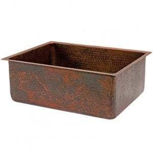 25″ Copper Hammered Kitchen Single Basin Sink