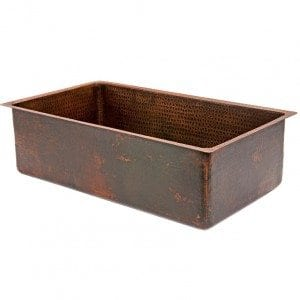 30″ Copper Hammered Kitchen Single Basin Sink