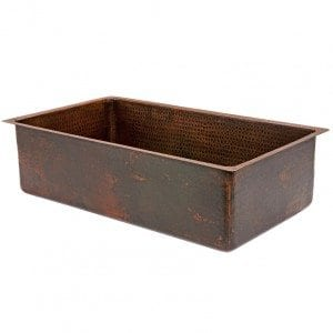 "33"" Copper Hammered Kitchen Single Basin Sink"