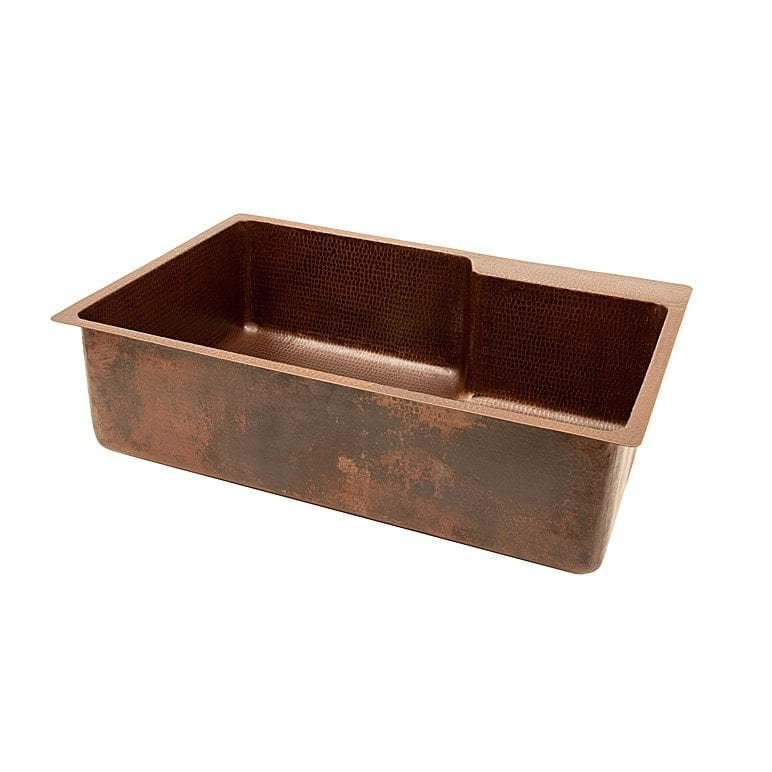 33 Hammered Copper Single Basin Kitchen Sink With Space For Faucet Handmade Artisan Copper Kitchen Bath Premier Copper Products