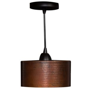 "Hand Hammered Copper 8"" Round Cylinder Pendant Light"