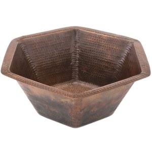 Hexagon Under Counter Hammered Copper Sink