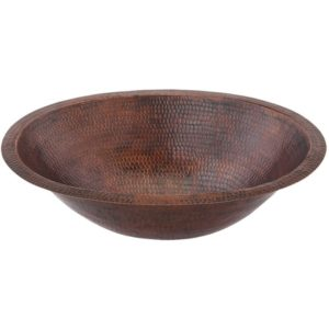 Small Oval Under Counter Hammered Copper Sink