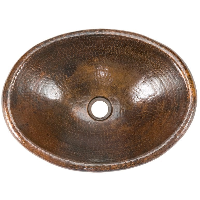 Small Oval Self Rimming Hammered Copper Sink ...
