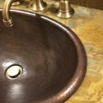 Small Oval Self Rimming Hammered Copper Sink