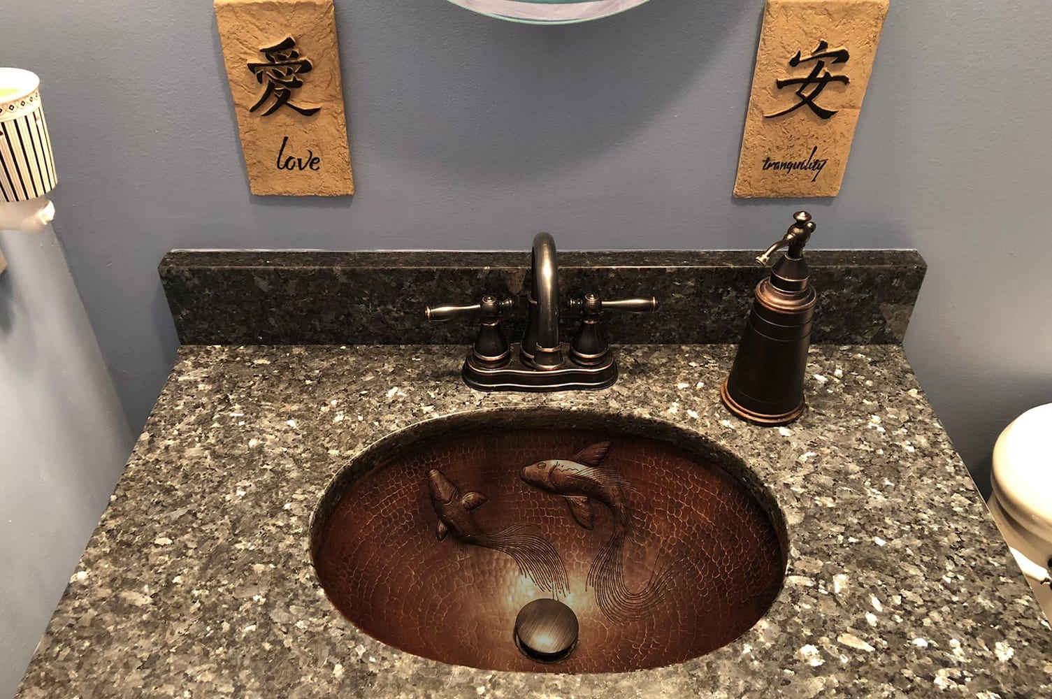 Oval Under Counter Hammered Copper Bathroom Sink With Koi