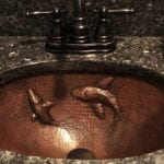 Oval Under Counter Hammered Copper Bathroom Sink with Koi Fish Design