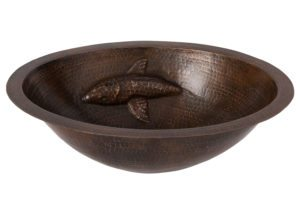 Oval Under Counter Hammered Copper Bathroom Sink with One Large Koi Fish Design