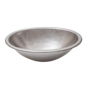 Oval Self Rimming Hammered Copper Nickel Sink