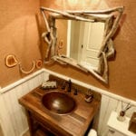 Master Bath Oval Self Rimming Hammered Copper Bathroom Sink