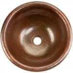 Small Round Self Rimming Hammered Copper Sink