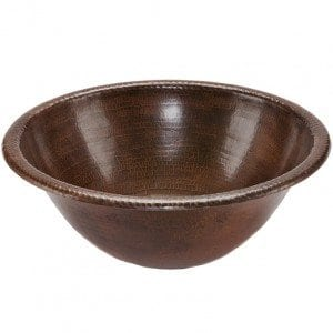 Round Self Rimming Hammered Copper Sink