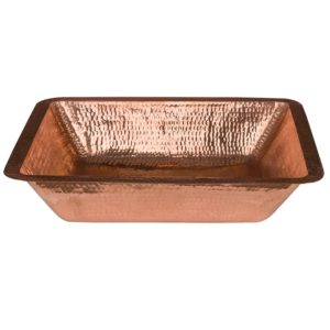 19″ Rectangle Under Counter Hammered Copper Bathroom Sink in Polished Copper
