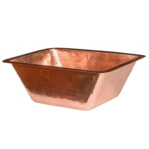17″ Rectangle Under Counter Hammered Copper Bathroom Sink in Polished Copper