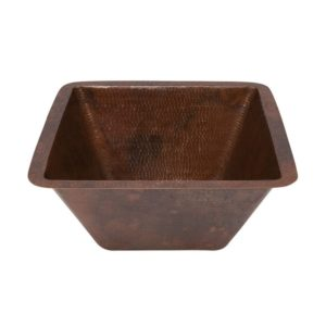 15″ Square Under Counter Hammered Copper Bathroom Sink