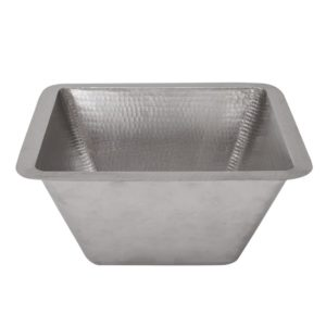 "15"" Square Under Counter Hammered Copper Bathroom Sink in Nickel"