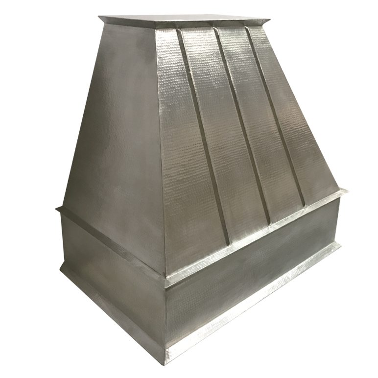 Custom Nickel Plated Hand Hammered Copper Range Hood