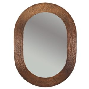 35″ Hand Hammered Oval Copper Mirror