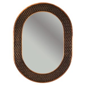 35″ Hand Hammered Oval Copper Mirror with Decorative Braid Design