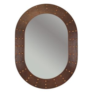 "35"" Hand Hammered Oval Copper Mirror with Hand Forged Rivets"