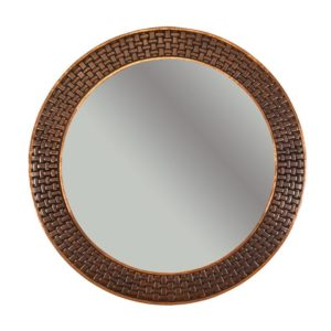 "34"" Hand Hammered Round Copper Mirror with Decorative Braid Design"