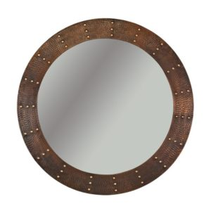"""34"""" Hand Hammered Round Copper Mirror with Hand Forged Rivets"""