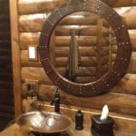34″ Hand Hammered Round Copper Mirror with Hand Forged Rivets