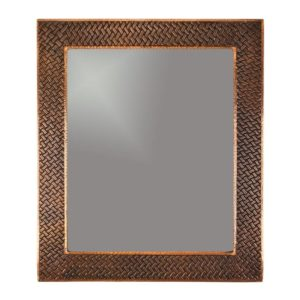 36″ Hand Hammered Rectangle Copper Mirror with Decorative Braid Design
