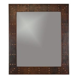 "36"" Hand Hammered Rectangle Copper Mirror with Hand Forged Rivets"