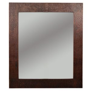 36″ Hand Hammered Rectangle Copper Mirror with Tree Design