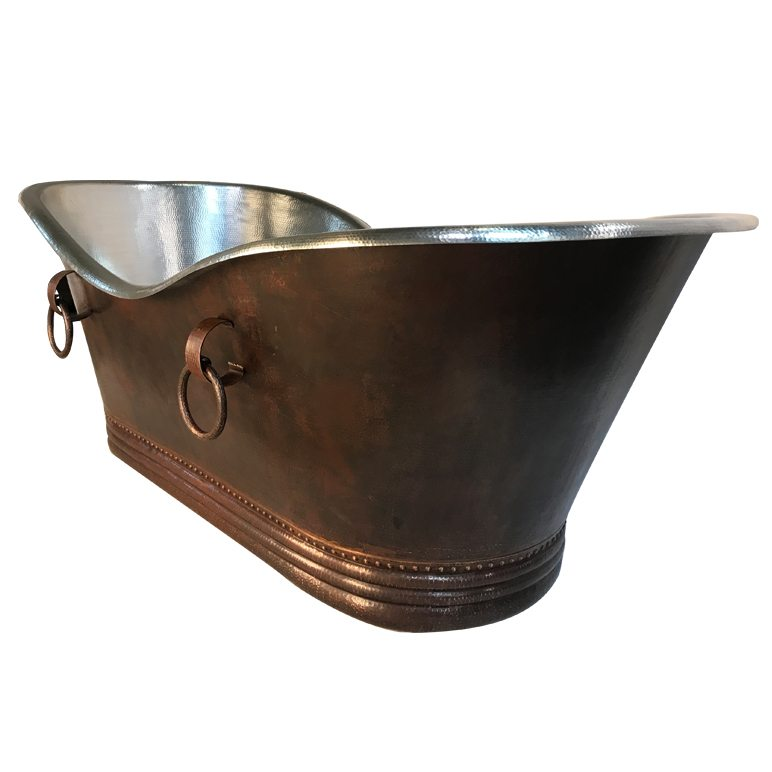 Custom 84 Hammered Copper Bathtub With Rings And Nickel