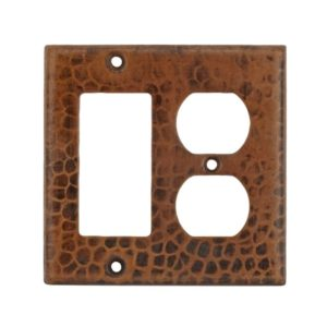 Copper Combination Switchplate, 2 Hole Outlet and Ground Fault/Rocker GFI Cover