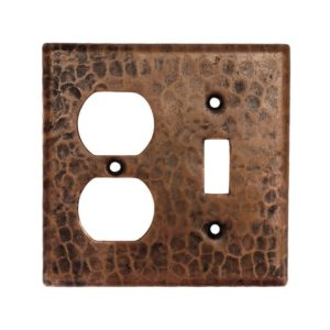 Copper Combination Switchplate, 2 Hole Outlet and Single Toggle Switch
