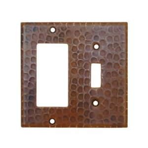 Copper Combination Switchplate, 1 Hole Single Toggle Switch and Ground Fault/Rocker GFI Cover