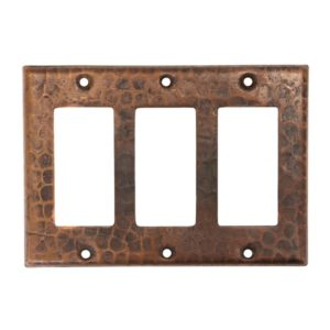 Copper Switchplate Triple Ground Fault/Rocker Cover GFI