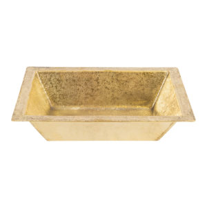"17"" Rectangle Under Counter Terra Firma Brass Bathroom Sink in Polished Brass"