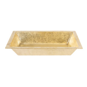 "22"" Rectangle Under Counter Terra Firma Brass Bathroom Sink in Polished Brass"