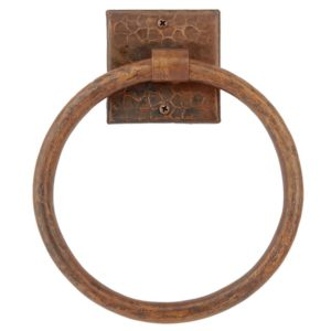 "10"" Hand Hammered Copper Full Size Bath Towel Ring"
