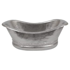Bath Tub Vessel Hammered Copper Sink in Electroless Nickel