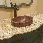 Compact Oval Skirted Vessel Hammered Copper Sink