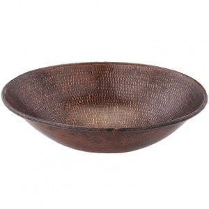 Oval Wired Rimmed Vessel Hammered Copper Sink