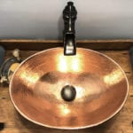 17″ Oval Wired Rim Vessel Hammered Copper Sink in Polished Copper
