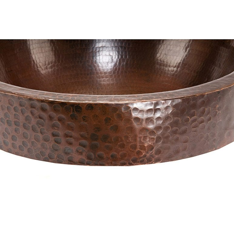 ... Oval Skirted Vessel Hammered Copper Sink