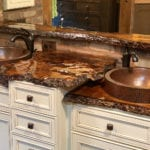Small Round Skirted Vessel Hammered Copper Sink