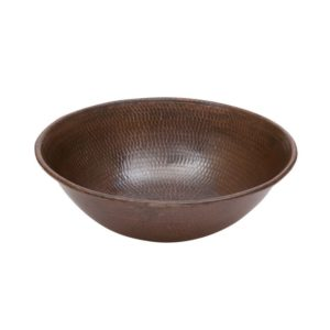 Round Wired Rimmed Vessel Hammered Copper Sink